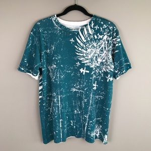 Affliction men's teal and white distressed tee